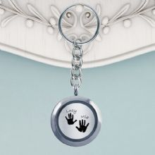 Circular Glass Double-Sided Hand and Foot Print Keyring - Baby Handprints and Footprints Keepsake